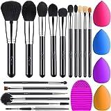 BESTOPE Makeup Brushes 16PCs Makeup Brushes Set with 4PCs Makeup Blender Sponge and 1 Brush Cleaner Premium Synthetic Foundat