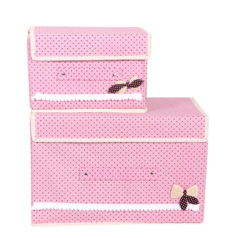 Foldable Storage containers with lids-KYW Heavy Duty Clothes Toys Fabric Storage Boxes -2packs For Home,Kitchen,Bedroom,2000+ Instagram Likes,24 -Hours Customer Support.30-Day,2-Years Warranty(pink)