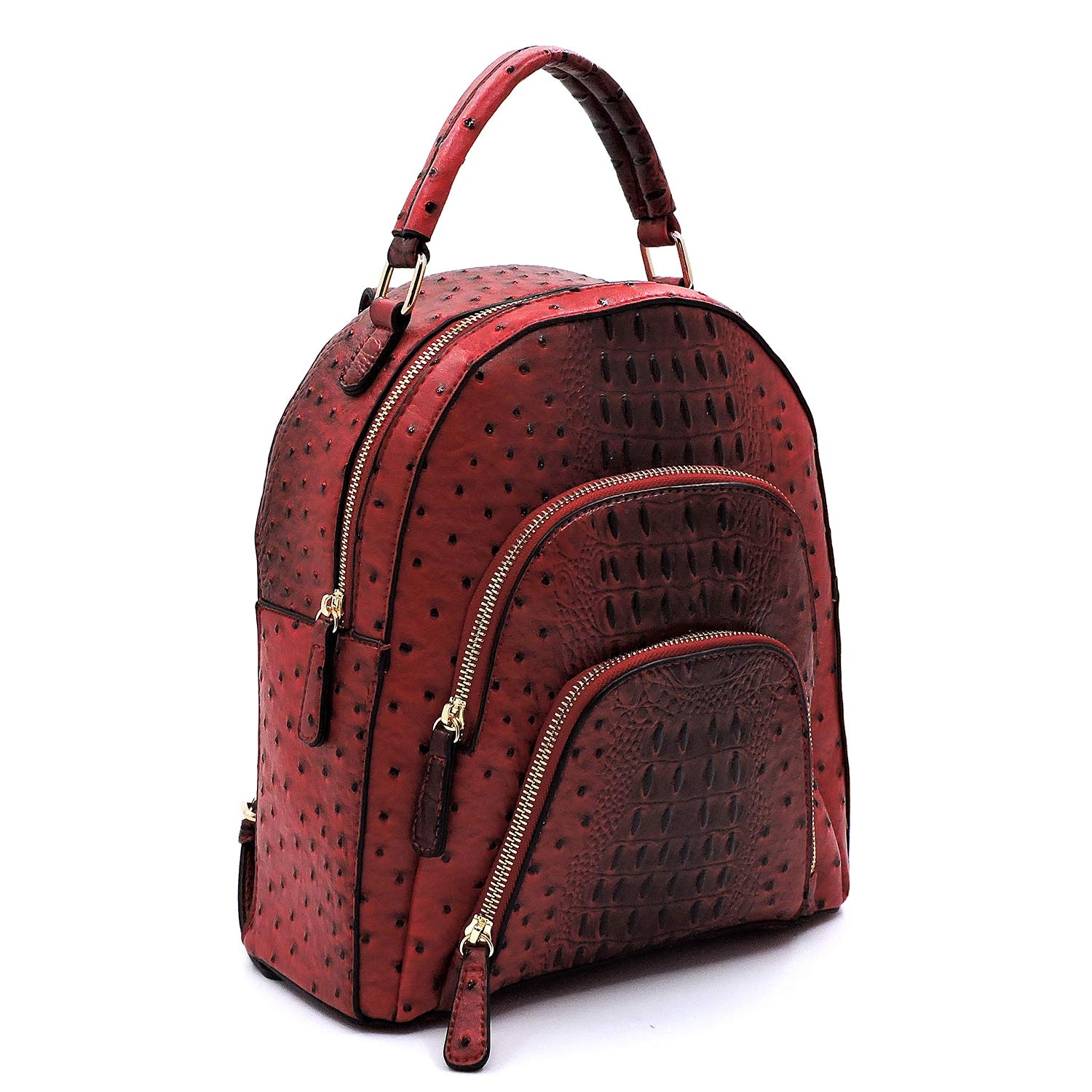 Le Miel Ostrich Embossed Multi Compartment Medium Backpack New