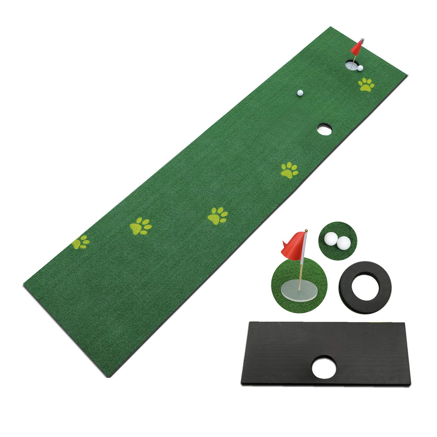 TIANNBU Golf Putting Mat Ajustable Slope Putting Green Easy Storage Synthetic Turf 2.4×10ft Artificial Grass Lawn for Home Office Backyard Indoor Outdoor by TIANNBU