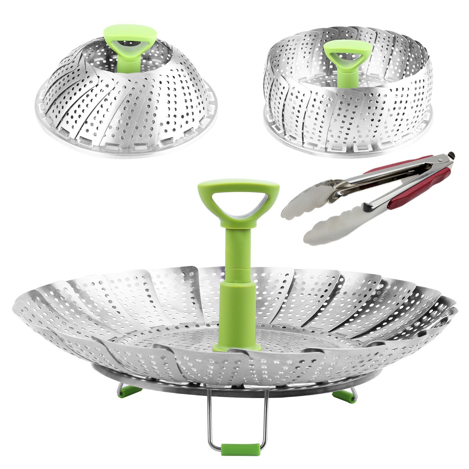"""Collapsible Food And Vegetable Steamer Basket Tray (7'' by 11'') With Kitchen Tong (9"""")- Good For Steaming Veggies, Seafood, Baby Food- Fits Many Pots, Pans, And Pressure Cookers"""