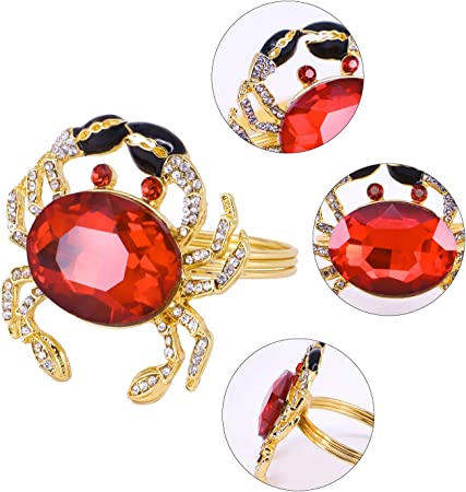 Alloy Home Big Crystal Crab Napkin Rings Set Of 6 GOLD Buckles Holders For Weddi