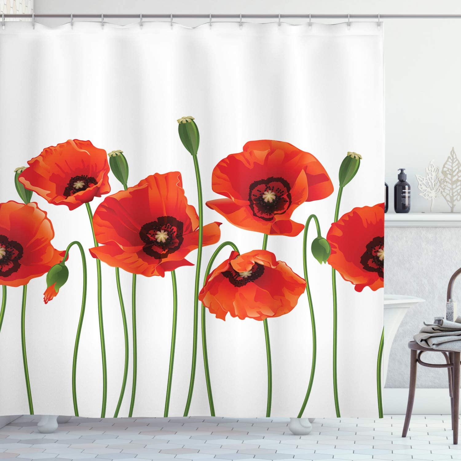 Ambesonne Floral Shower Curtain, Poppies of Spring Season Pastoral Flowers Botany Bouquet Field Nature Theme Art, Cloth Fabric Bathroom Decor Set with Hooks, 75