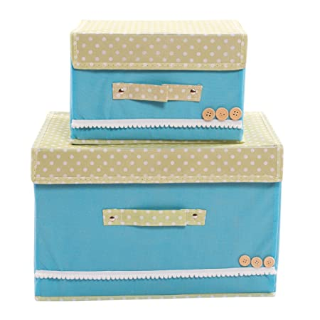Set of 2 NEW Foldable Tote Canvas Storage Boxes with Velcro Lid  UK Seller