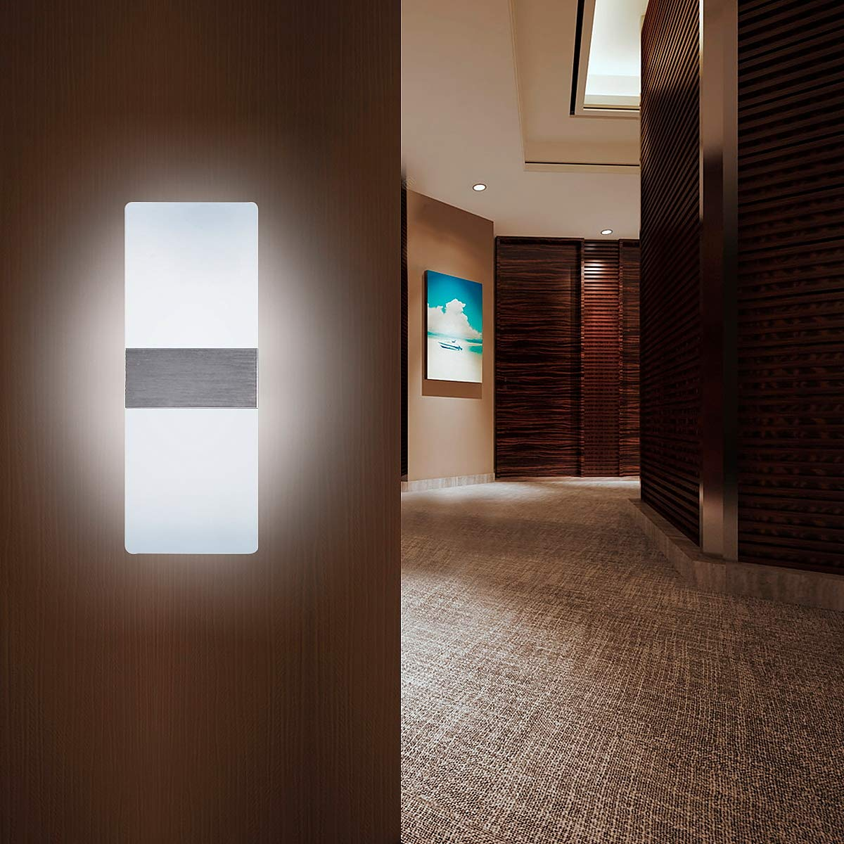 Set of 2 Led Wall Sconces Light Modern and Fashion Cool White Led Wall Light for Bedroom Living Room Balcony Porch Office Hotel and Hallway 11.4 x 4.3 12W, 6000K Kernorv Modern Wall Sconce