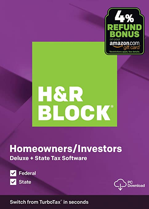 Amazon Com Old Version H R Block Tax Software Deluxe State 2019 Amazon Exclusive Pc Download Software