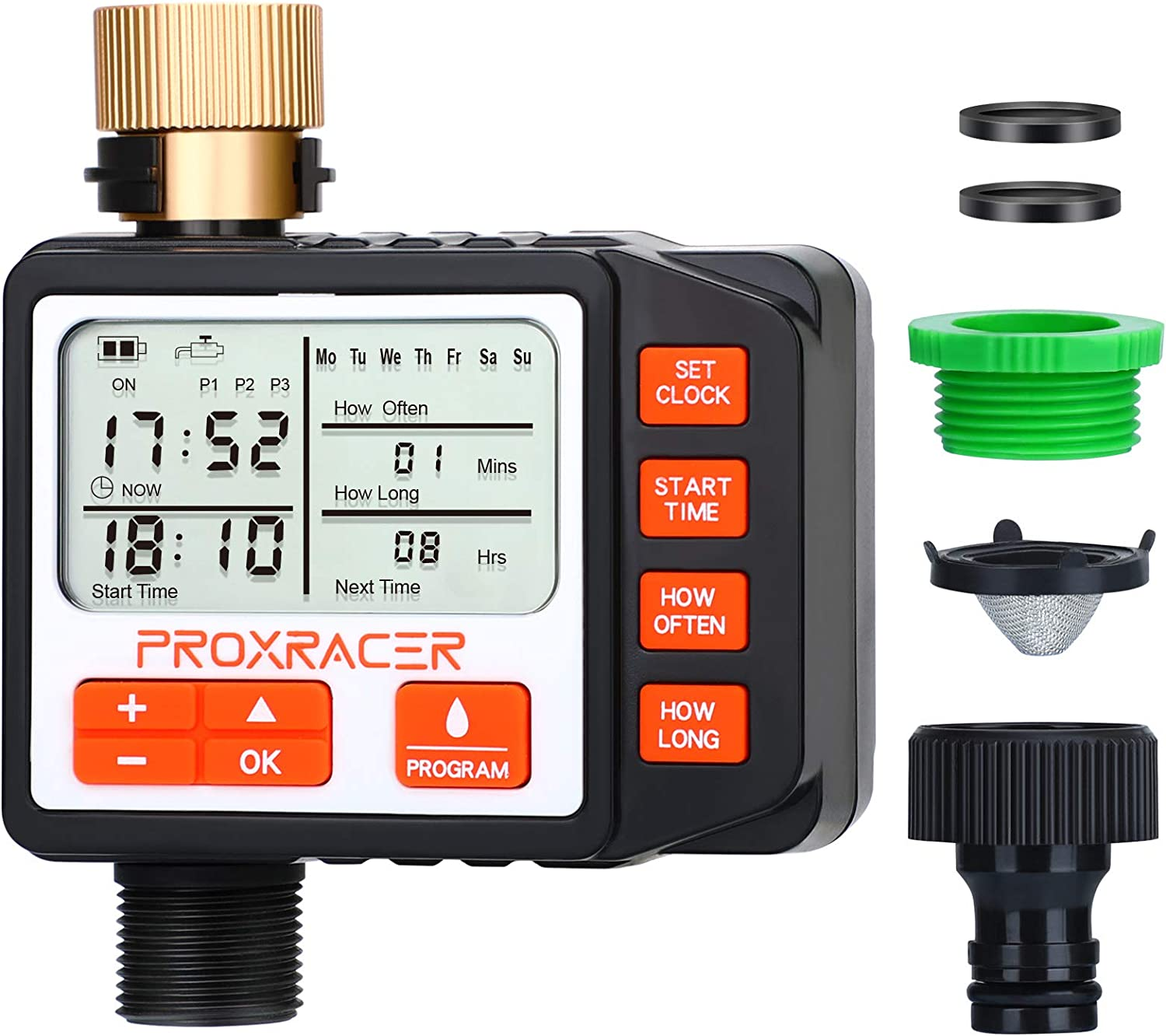 Water Timer Electronic Multi Smart Single-Outlet Water Hose Timer Outdoor Waterproof Automatic On Off Programmable Controller with Rain Delay and Manual Control Irrigation System Battery Operated