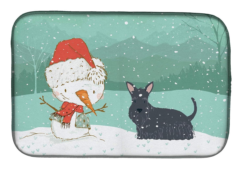 Caroline's Treasures CK2068DDM スコティッシュテリア 雪だるま クリスマス食器乾燥マット 14 x 21 マルチカラー   B07J1WN7P6