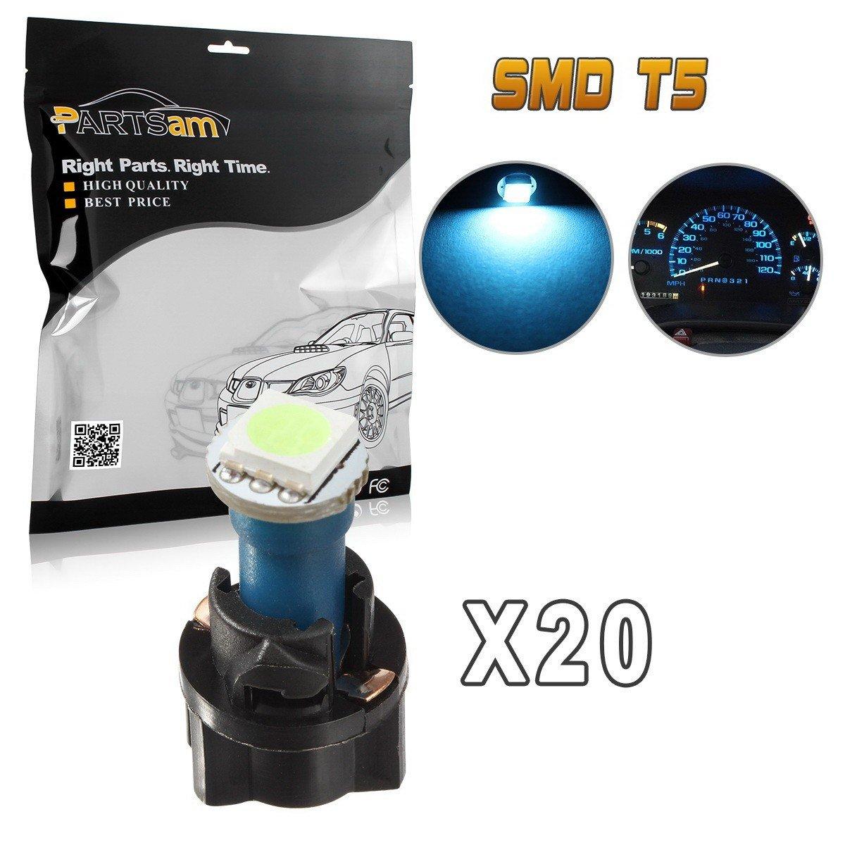 Partsam T5 74 LED Light Bulb Instrument Panel Gauge Cluster Dashboard LED Light Bulbs Set 20 T5 LED Bulbs with 20 Twist Lock Socket – Ice Blue