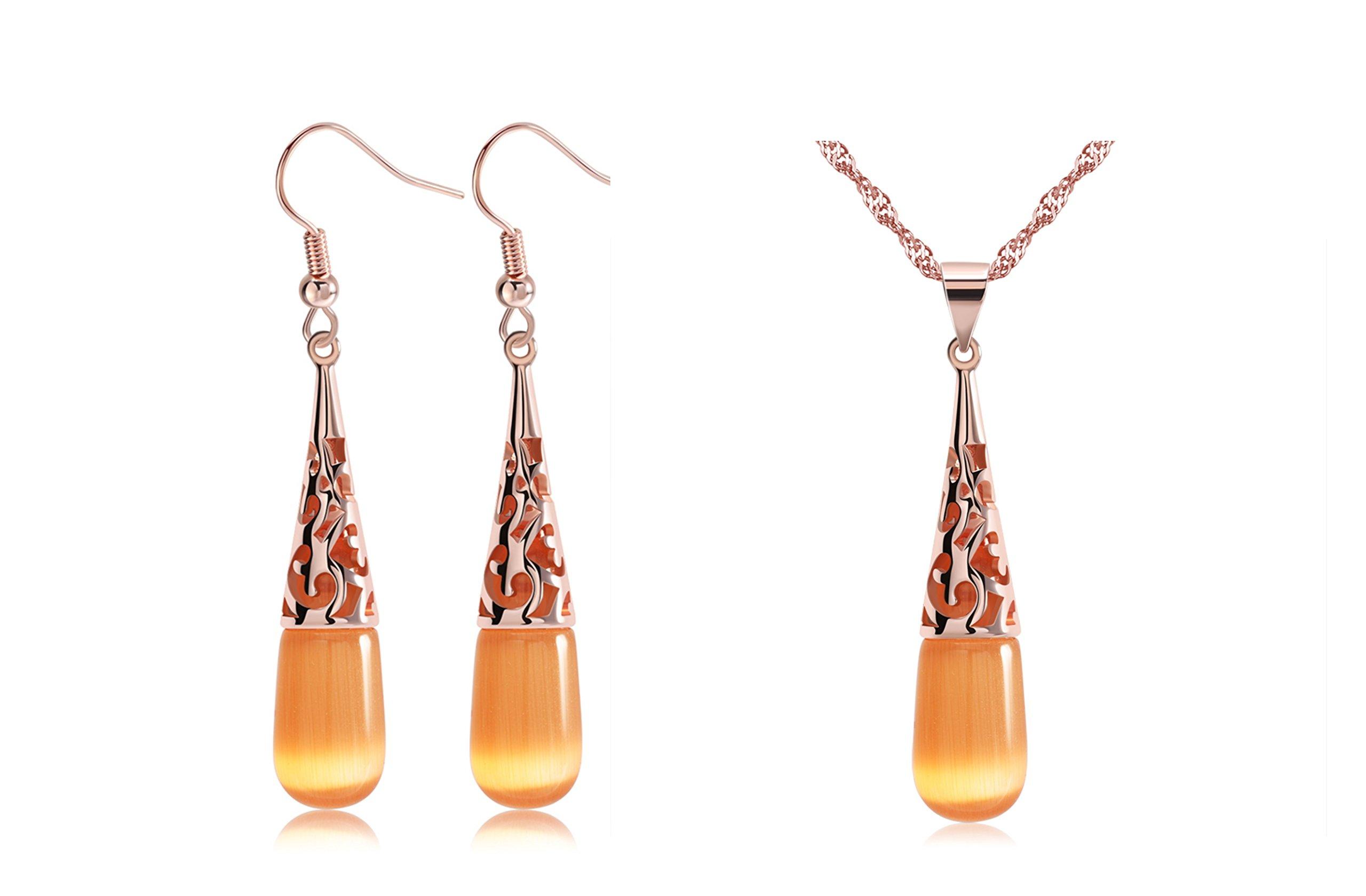 UPRIMOR Elegant 18K Rose Gold Plated Cat's Eye Stone Jewelry Set, Matching Pendant Necklace Earrings Set for Women Girls