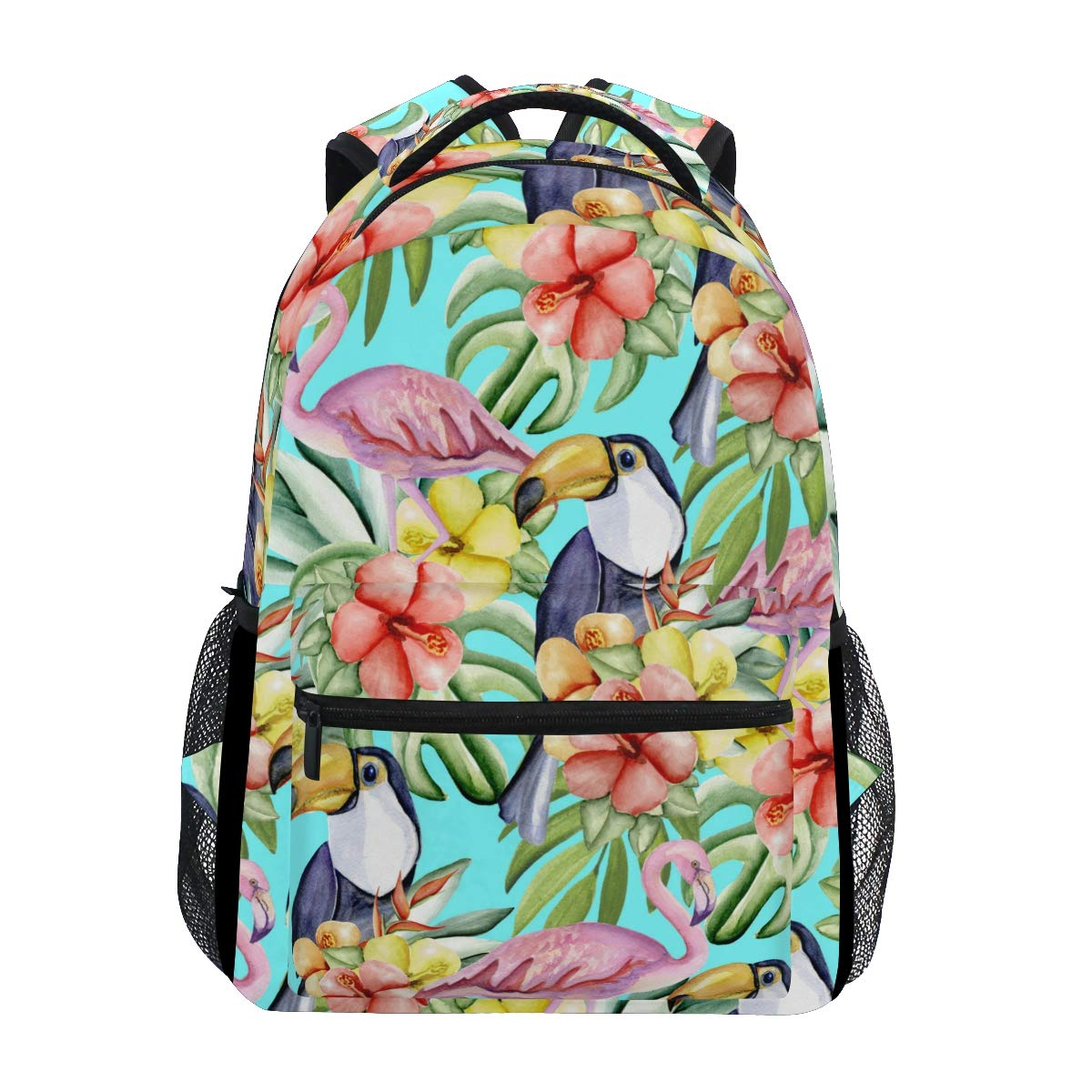 School Backpack Summer Tropical Flowers Toucans Flamingo Lightweight Travel Daypack College Bag for Women Girls by My Little Nest