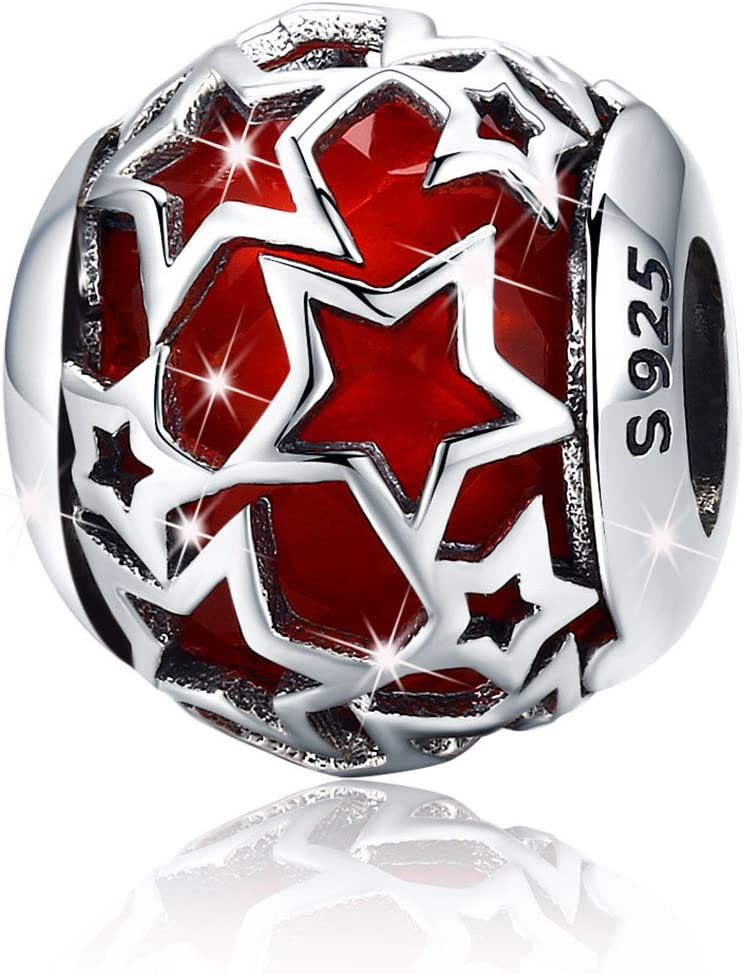 Abalorio de plata de ley 925 con diseño de estrella de cristal rojo para pulseras de abalorios