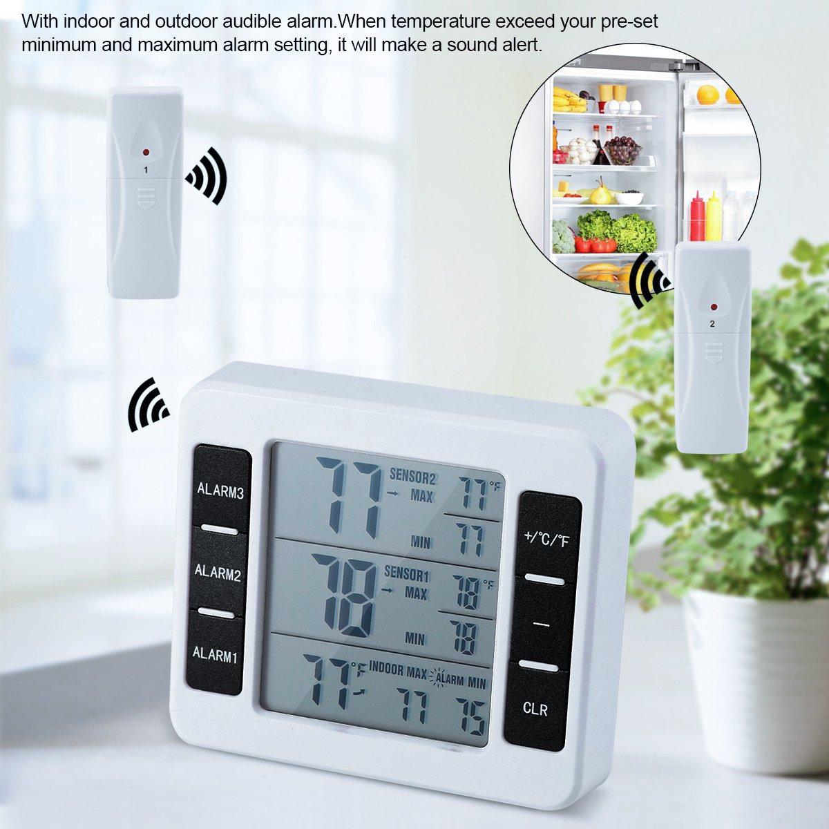 Term/ómetro del refrigerador Term/ómetro sin hilos del congelador del LCD Digital con la parte posterior audible de la alarma magn/ética para el hogar//la cocina//la oficina