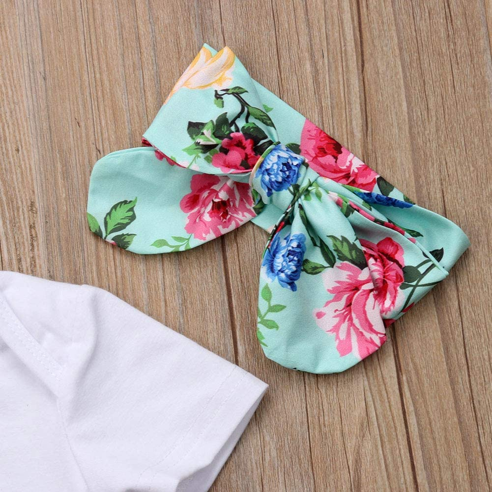 Baby Sister Newborn Outfit Short Sleeve Bodysuit Top+Floral Tutu Skirt Shorts+Bowknot Headband Clothes Set