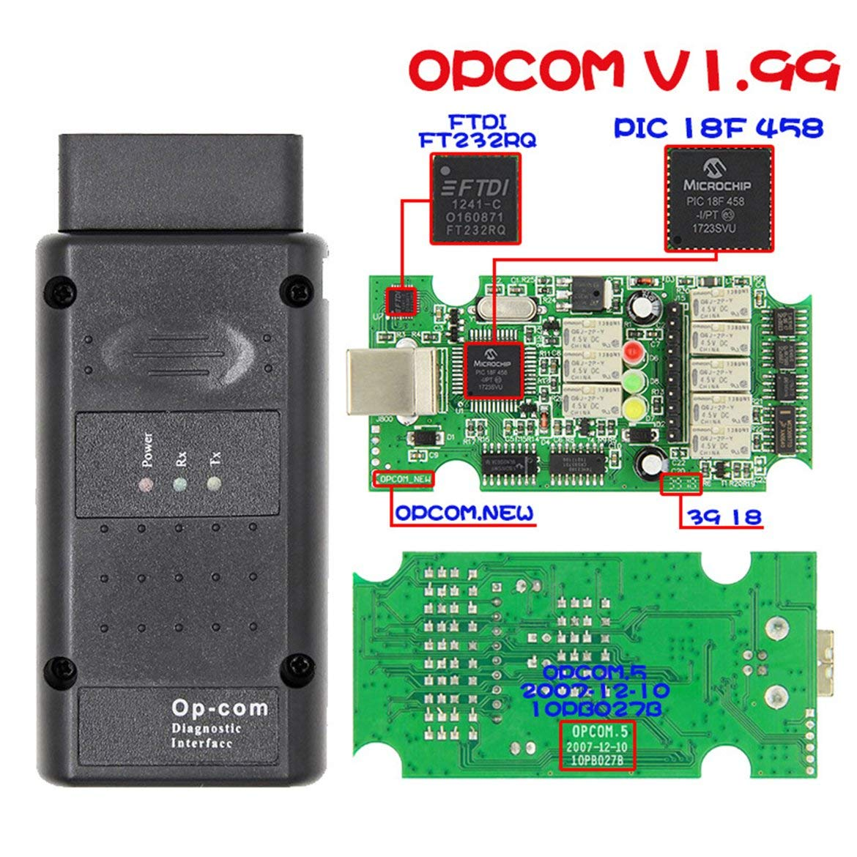 ngzhongtu Opcom 2014 V Puede OBD2 para Opel Firmware V1.99 FTDI FT232RQ Nuevo OP-Com 120309a con Chip PIC18F458 para Vectra-C Negro