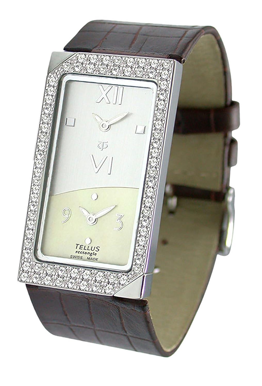 Tellus - Rectangle - Damen Armbanduhr - weiß und elfenbein perlmutter Ziffernblatt - Armband Braun aus Kalbsleder -