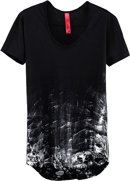 ByTheR Men/'s Vintage Wear White Paint Custom Look Slim Knit Long Sleeve T-shirts