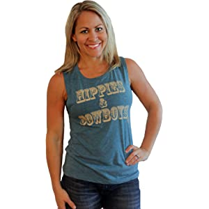 a69be77f Tough Little Lady Women's Shirt Country Graphic tee Hippies and Cowboys  Teal MUS