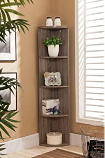 Kings Brand Furniture Wood Wall Corner 5 Tier Bookshelf Display Stand Grey