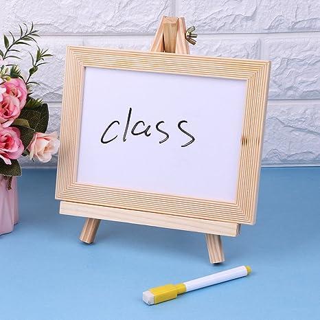 Pizarra blanca caballete marco de madera mesa blanco borrado ...