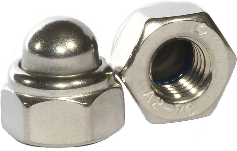 Selbstsichernde Hutmutter Sechskant DIN 986-10 St/ück M4 A2 Edelstahl Bolt Base