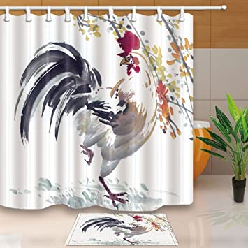NYMB Animal Shower Curtains Cock Traditional Chinese Painting 69X70in Mildew Resistant Polyester Fabric
