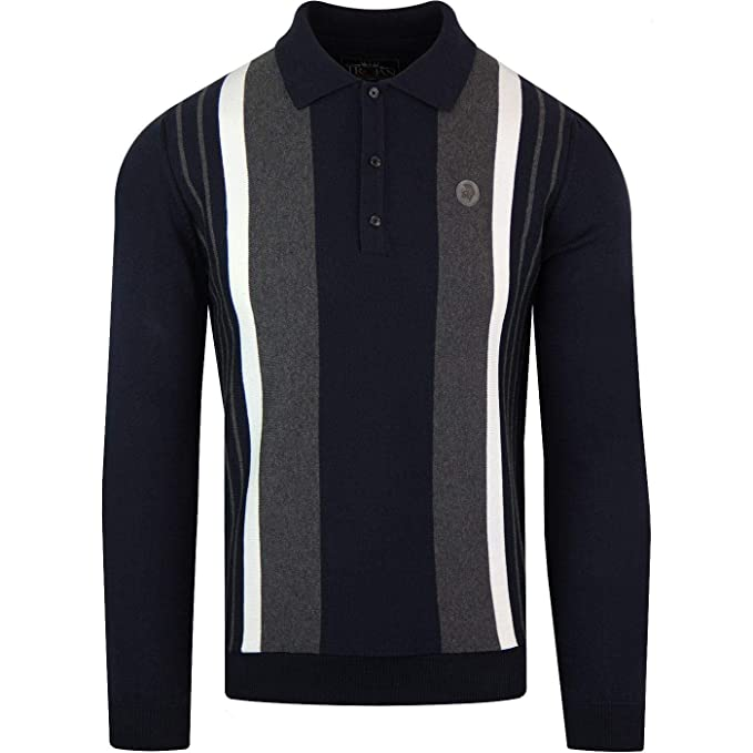 e99af85a3 Trojan Mens Smart Long Sleeve Fine Knit Panel Polo Shirt TR 8358 - Navy  Blue  Amazon.co.uk  Clothing