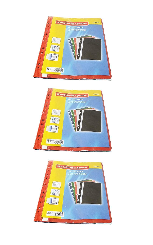 5 Farben aus Kunststoff 2 x blau//gr/ün//rot//wei/ß//schwarz Idena 307862 10 St/ück Schnellhefter A4 gelocht