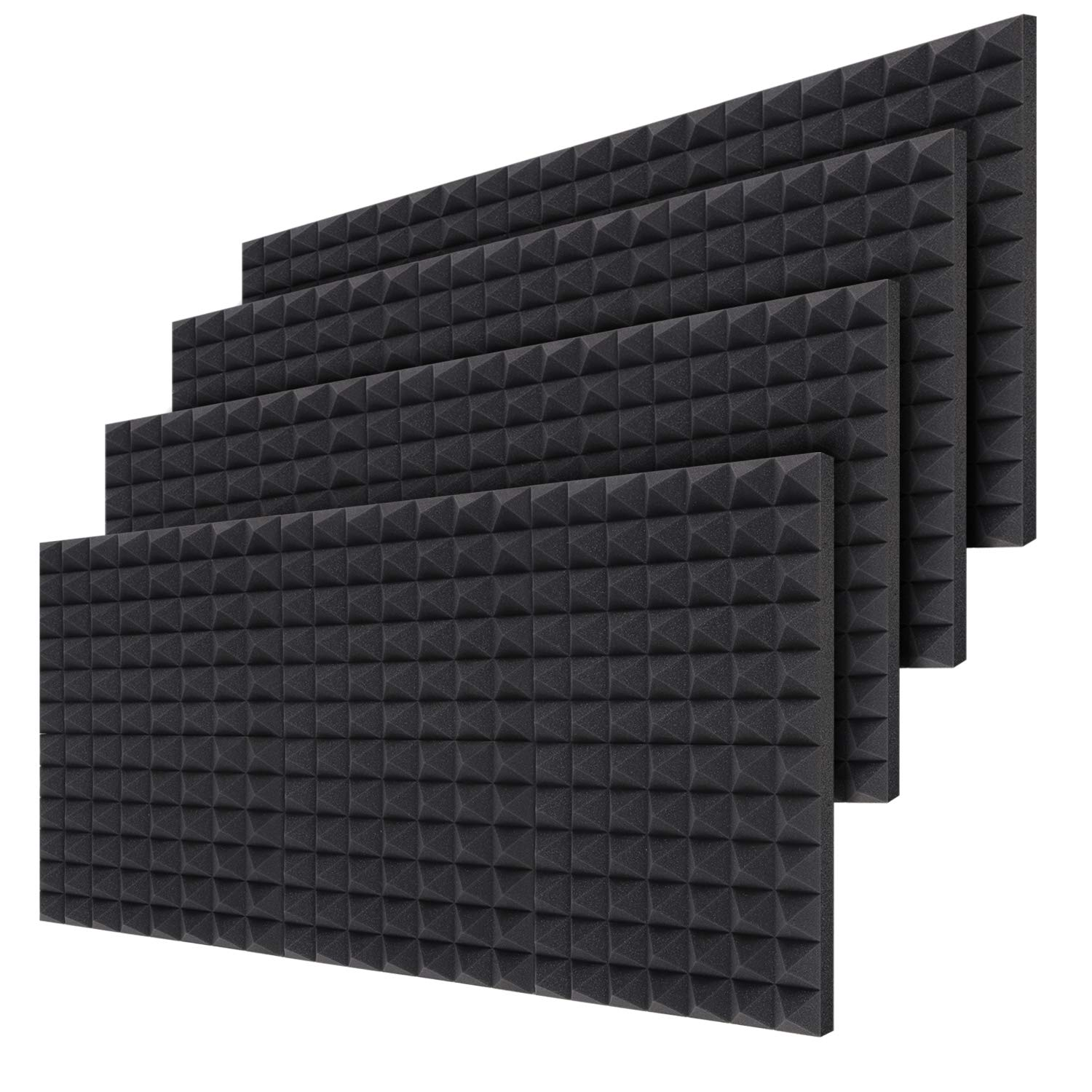 Acoustic Foam Panels 24-Pack 2'' X 12'' X 16'', Ohuhu Sound Absorbing Dampening Wall Foam Pyramid 2 Inch Acoustic Treatment