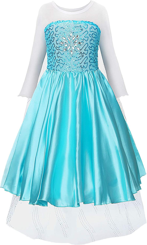 JerrisApparel Fiesta Maxi Vestido de Princesa niña Disfraz Cosplay con Diamante