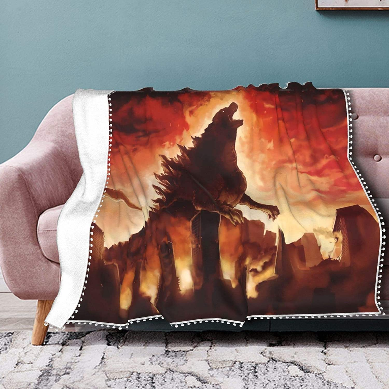 Asuuats Anime Godzilla King of The Monsters Warm Pompom Fringe Blanket, Soft Cozy Light Anti-Pilling Fluffy Throw Blanket, Home Decor Sofa Fuzzy Blanket Travel Lanket 60