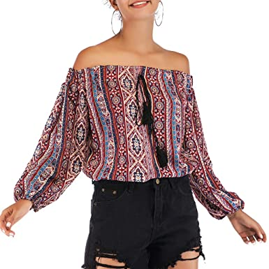 df66640b Mnyycxen Women Tassel Top, Slash Neck Lantern Sleeve Folk-Custom Print Off  Shoulder Tee Blouse at Amazon Women's Clothing store: