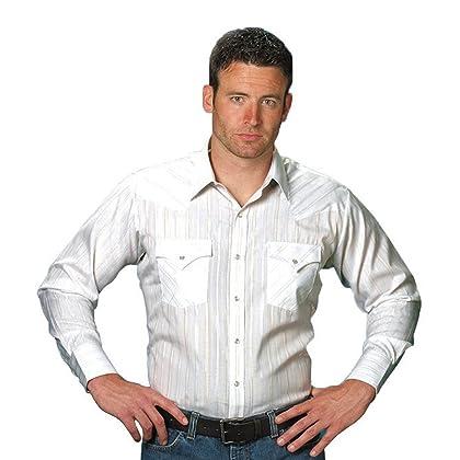 2bdecd954a4 Ely Cattleman Long Sleeve Men s White Lurex Snap Western Shirt