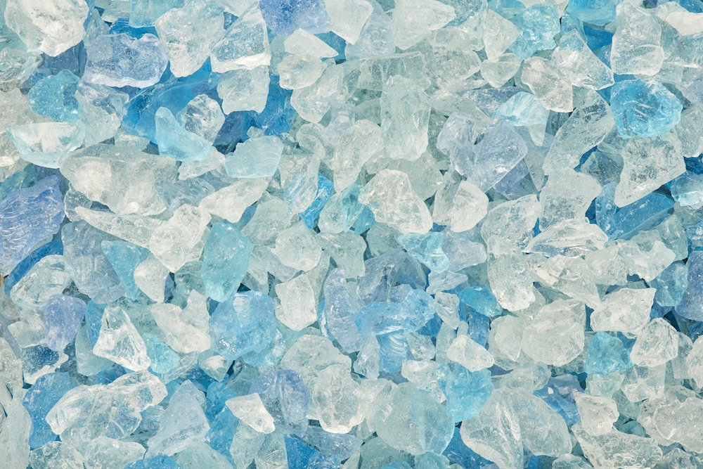 BAHAMA BLEND (Blue, Aqua, Clear) Multi-Purpose Premium Decor & Fire Glass Rock 2-pound 1/4-1/2 inch - For Use In Fire Features, Aquariums, Apothecary, Jars, Potted Plants, Fire Bowls One Stop Outdoor