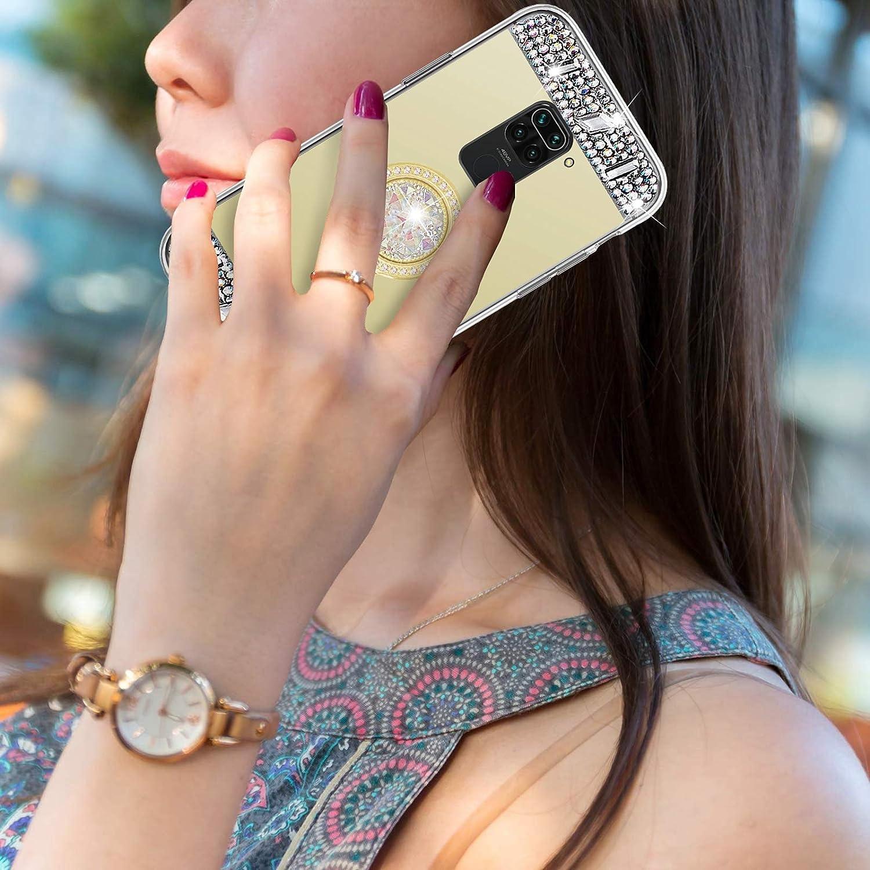 Glitzer Spiegel H/ülle f/ür Xiaomi Redmi Note 9 Gold Misstars Bling Kristall Strass /Überzug TPU Silikon Handyh/ülle Ultrad/ünn Kratzfest Schutzh/ülle mit Diamant Ring St/änder f/ür Xiaomi Redmi Note 9