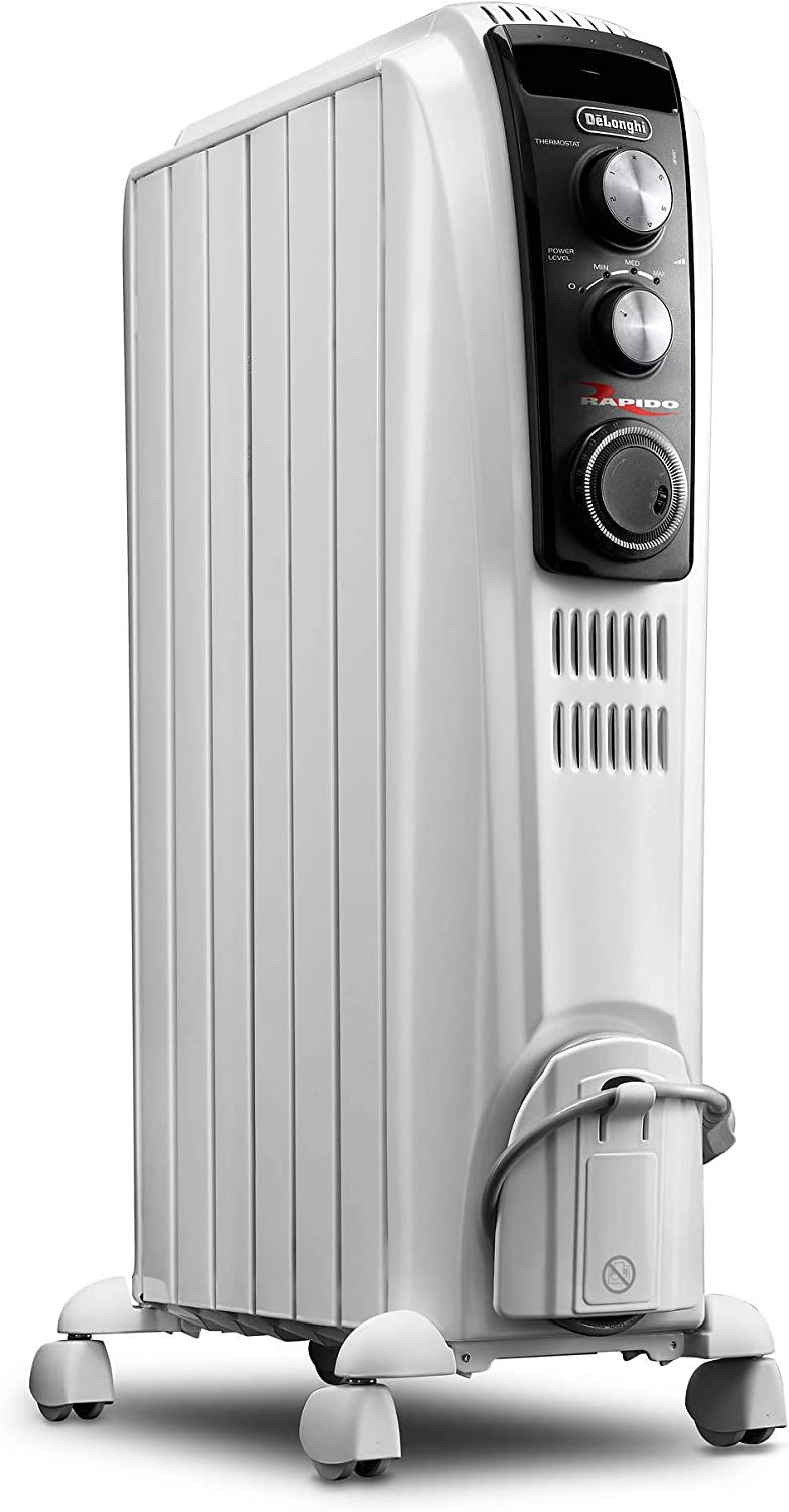 """Delonghi SILENT Portable Radiator Heater with Patented Thermal""""Chimney Effect"""" and Anti-Freeze Setting"""