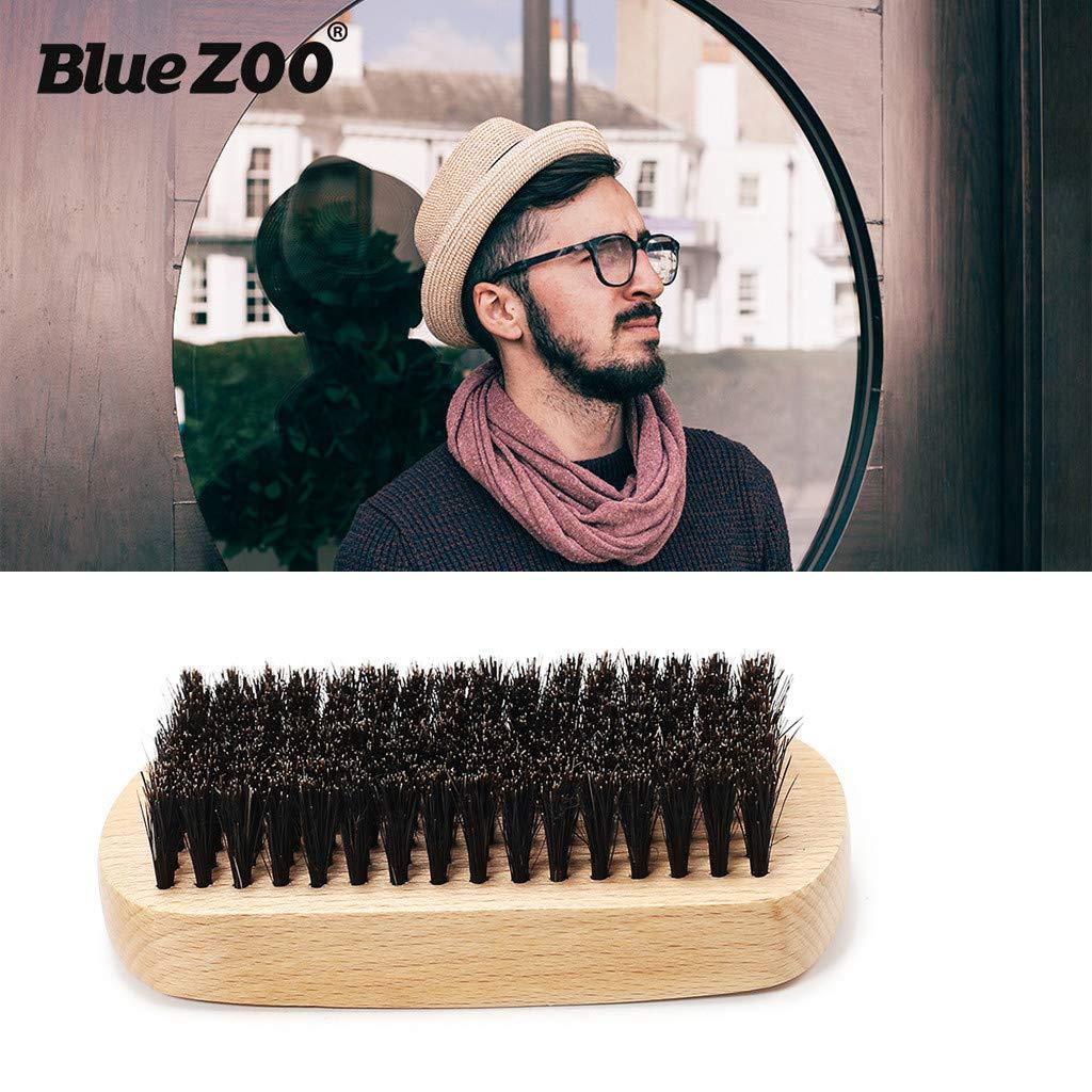 Pollyhb Men Beard Brush Wood Boar Hair Bristle Beard Mustache Brush Hard Oval Wood Handle Male Beard Care (Yellow)
