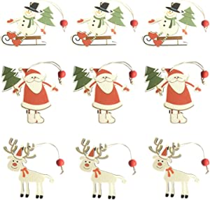 DAJAMAI Wooden Christmas Tree Ornaments Kit, Christmas Ornaments 2021 Set, 9 Pack Wood Santa Claus / Snowman / Reindeer, Wooden Christmas Hanging Decoration Ornaments for Xmas Tree with Gift Box