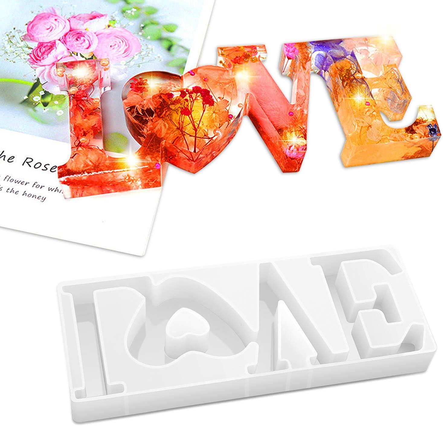 moldes de resina epoxi en forma de coraz/ón para artesan/ía DIY Decoraci/ón de mesa D/ía de San Valent/ín Danolt 38 Unids Love Silicone Mold para resina