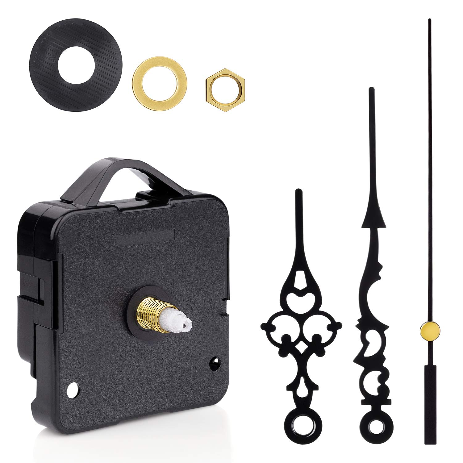 2Pack Clock Motor Movement with Battery Clock Parts Replacement Mechanism (Black)