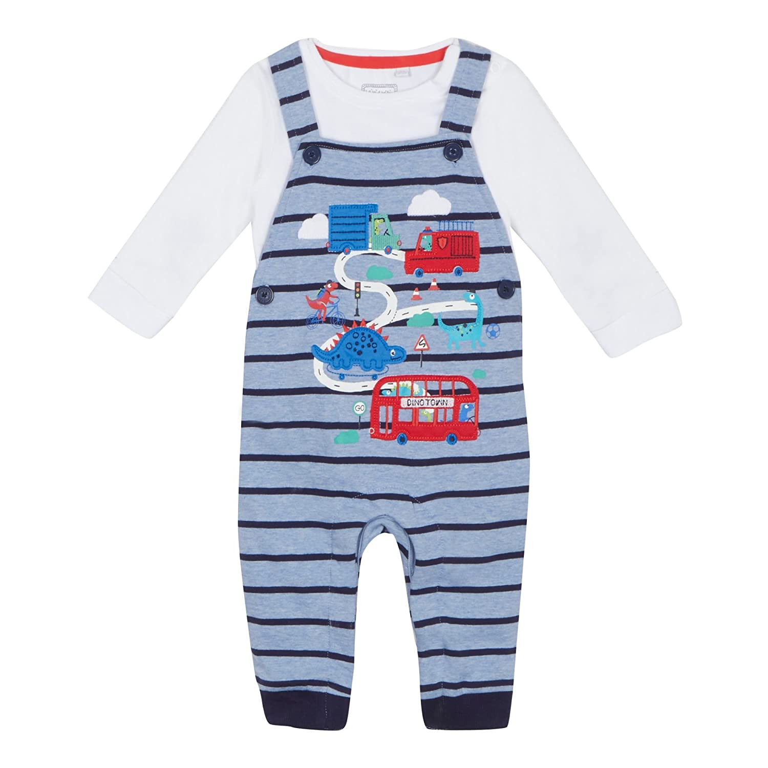 Baby Boys' Blue 'Dinosaur Town' Applique Dungarees and White Long Sleeve Bodysuit Set 18-24 Months bluezoo