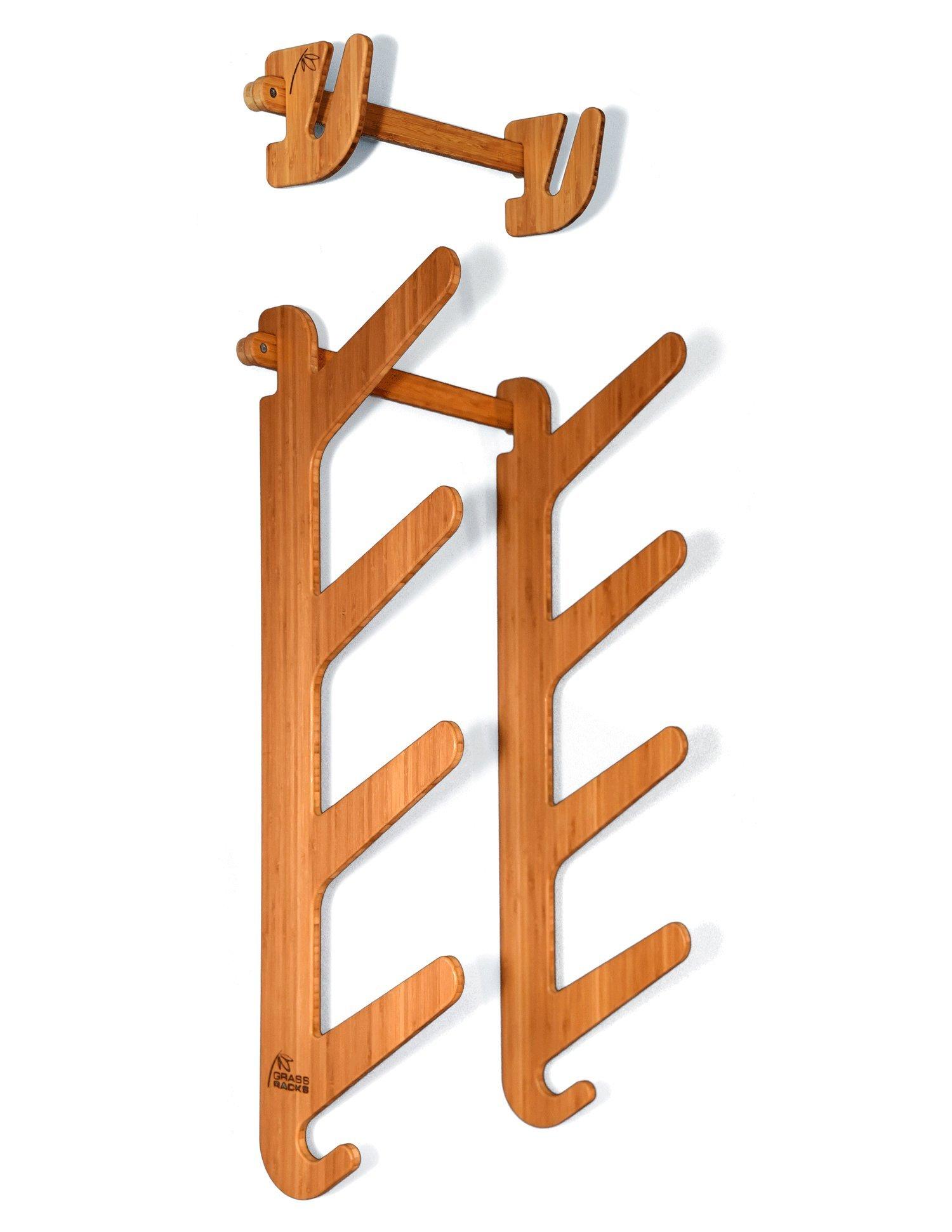 Bamboo Snowboard Wall Rack for 5 Snowboards or Skateboards - Grassracks Moloka'i Pro Package by Grassracks