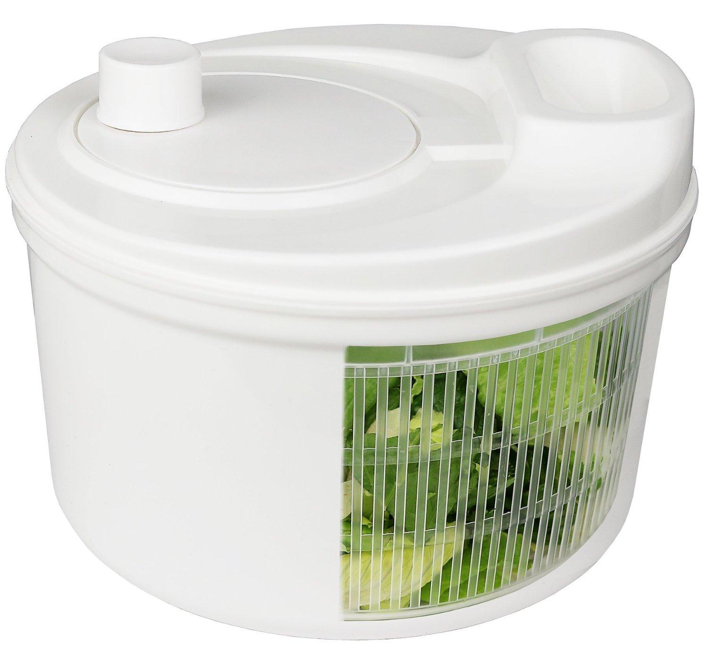 Greenco GRC0274 Easy Spin Manual Salad Spinner, 4 quart, White