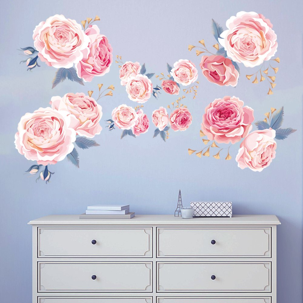 Decalmile Pink Rose Wall Stickers Removable Flower Wall Decals
