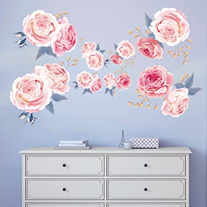 Magnificent Decalmile Pink Rose Wall Stickers Removable Flower Wall Decals Bedroom Living Room Wall Art Decor Home Interior And Landscaping Ologienasavecom