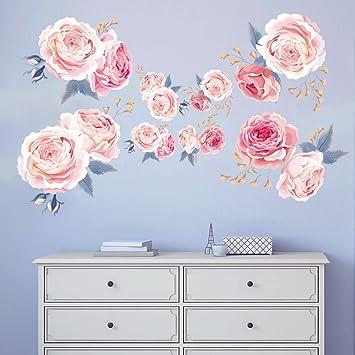 Decalmile Wandtattoo Blumen Rosa Rosen Wandsticker Wohnzimmer