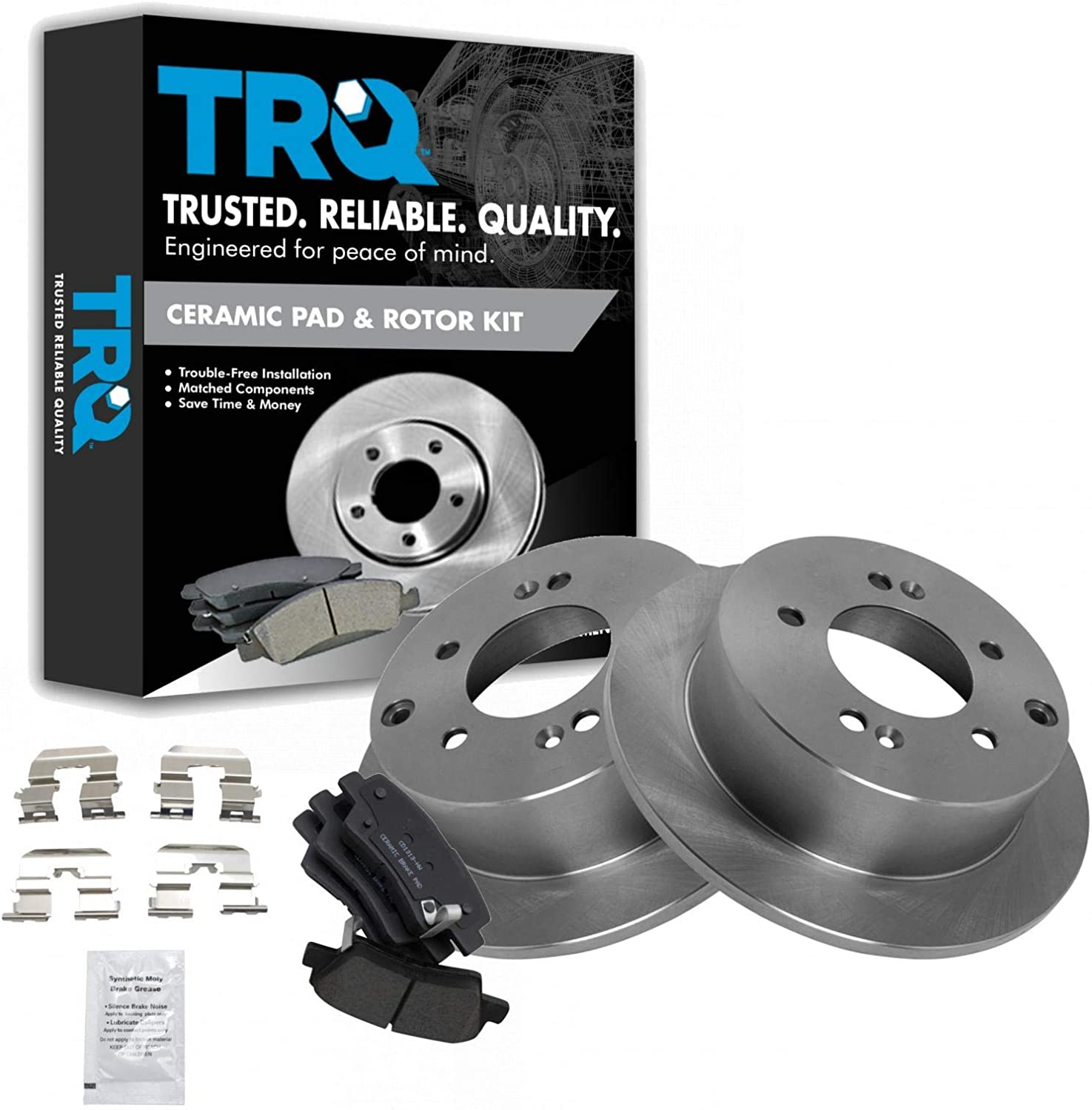 Front And Rear OE Disc Brake Rotors /& Ceramic Pads For Kia Forte Soul