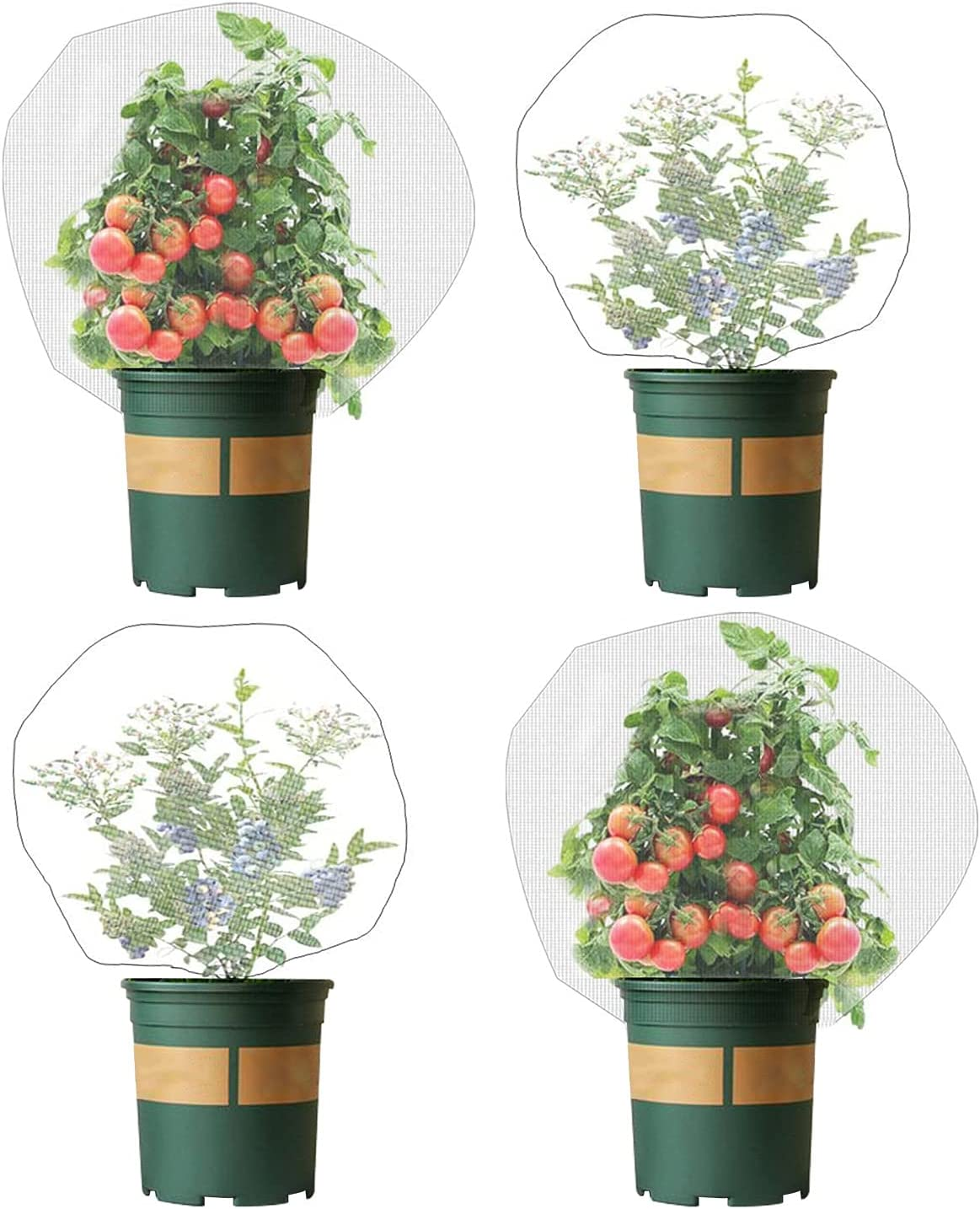 4 Pack Garden Neting Plant Insect Bird Barrier Mesh with Drawstring 3.5Ftx2.3Ft Mesh Plant Covers Freeze Protection Tomato Barrier Bag for Garden Flower Blueberry Vegetables Fruits Bird Eating