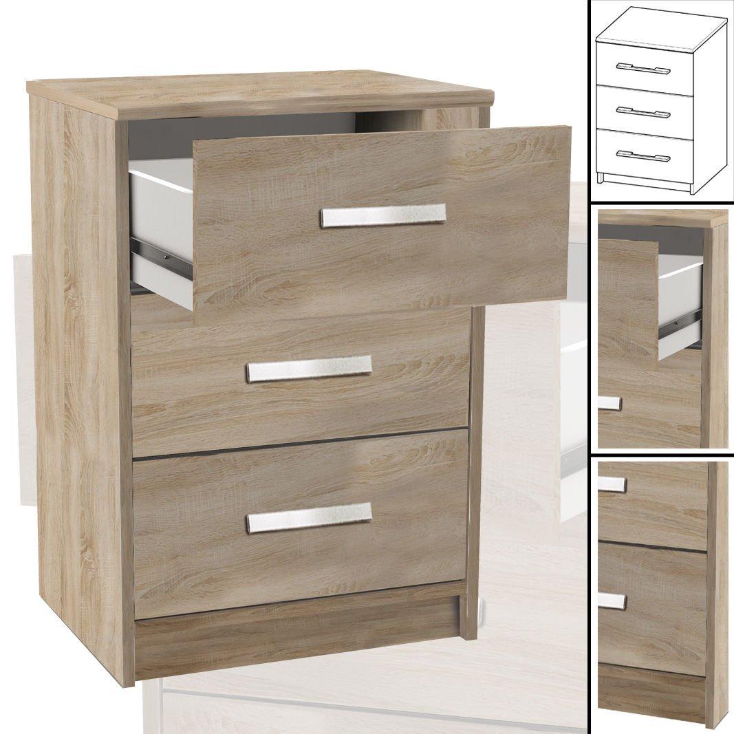 NACHTTISCH  127 Sonoma-Eiche 3X Schublade Holz Nachtschrank Nachtisch (67cm hoch)
