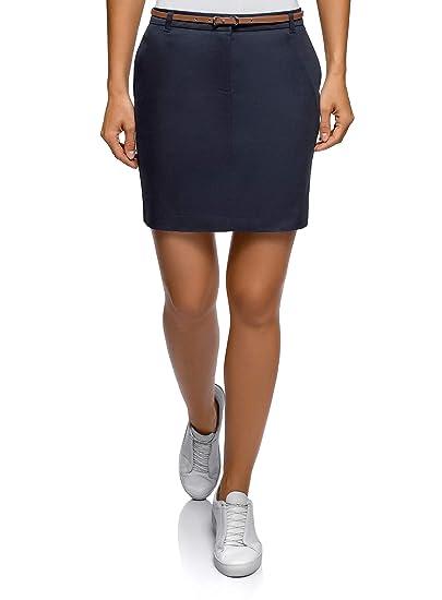 oodji Ultra Mujer Falda de Algodón con Cinturón: Amazon.es: Ropa y ...